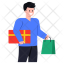 Man With Shopping Purchase Shopping Man Icon