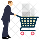 Man With Trolley Trolley Cart Icon