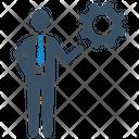 Brainstorming Businessman Gear Icon