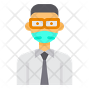 Manager With Facemask Icon