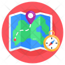 World Location Paper Map Map Orientation Icon