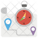 Map With Compass Icon