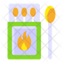 Matchstick Matchbox Flaming Fire Icon
