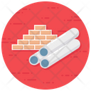 Material Construction Pipe Bricks Icon