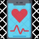 Phone Heart Monitor Mobile Health Care Icon