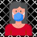 Woman Coronavirus Mask Icon