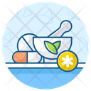 Traditional Medicine Mortar And Pestle Herbal Medication Icon
