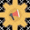 Megaphone in cogwheel Icon