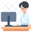 Men Working Desk Worker Icon