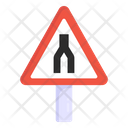 Merge Road Road Post Traffic Board Icon