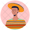 Mexican Poncho Dress Mexican Wearing Traditional Clothes Icon