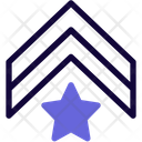 Military Rank Star Badge Double Stripe Icon