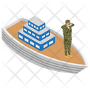 Military Battleship Army Boat Water Craft Icon