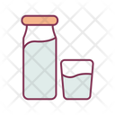 Milk Bottle And Glass Milk Bottle Milk Glass Icon