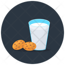 Milk With Biscuits Breakfast Biscuit Icon