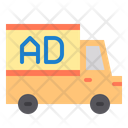 Mobile Advertising Truck Poster Poster Icon
