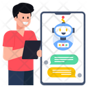 Robotic Chat Mobile Chat Assistant Robotic Assistant Icon