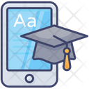 Mobile Learning Cap Graduation Icon