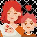 Mom And Children Children Baby Icon