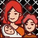 Mom And Children Icon