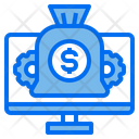 Monitor Computer Money Bag Icon