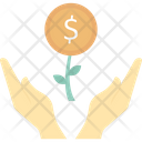 Revenue Earning Money Plant With Hands Icon