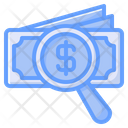 Money Search Financial Search Finding Money Icon
