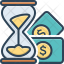 Money Stack And Sand Clock Icon