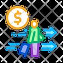 Man Suitcase Money Icon