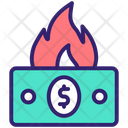 Money Waste Wasted Money Financial Loss Icon