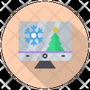 Christmas Monitor Snow Icon
