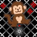Monkey Circus Show Carnival Cartoon Cycling Animal Icon