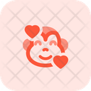 Monkey Smiling With Hearts Icon