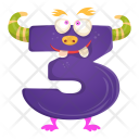 Monster Three Number Icon