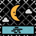 Moon Sea Night Icon