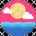 Moon Ocean Cloud Icon