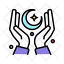 Moon In Hand Eid Hands Icon