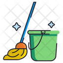 Mop Mop And Bucket Bucket Icon