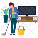 Household Services Room Cleaning Housekeeping Icon