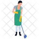 Mopping Girl Housekeeping House Cleaning Icon