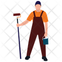 Mopping Man Housekeeping House Cleaning Icon