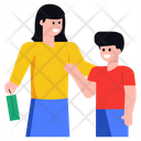 Shopping Mother And Son Family Icon