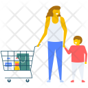 Mother and Son Shopping Icon