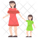 Motherhood Mother With Kid Mother And Daughter Icon