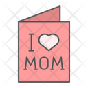 Mothers Day Card I Love Mom Happy Icon