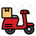 Motorcycle Driver Package Transport Shipping Icon