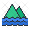 Mountain Sea Island Icon