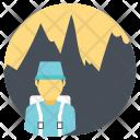 Mountain Hiker Hiking Icon
