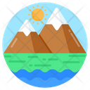 Snowy Mountain Hills Station Mountain Landscape Icon