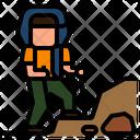Mountaineer Trekking Hiking Icon